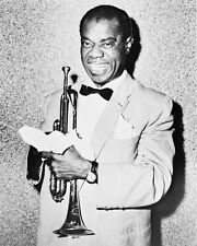 Louis Armstrong Stunning B&W Poster or Photo Holding Trumpet