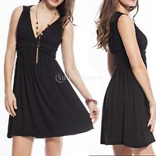 Womens Bodycon Skirt Dress Slim Skater Ladies Party Mini Dress Size 6-14