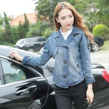 New Vintage Long Sleeve Jean Coat Womens Slim Denim Short Casual Jacket Fashion