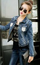 New fashion cool ladies'long-sleeved denim jacket slim casual short Jean coat