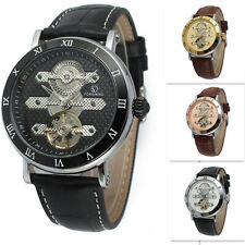 Military Black Automatic Mechanical Day Date Men's Leather Wrist Watch Rose Gold