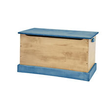 WOOD TOY BOX Amish Handmade Storage Chest ~ Natural Blue in Small Medium & Large