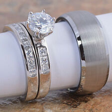 3PCS Womens Silver Engagement Ring Set & Tungsten Mens Ring Wedding Band Jewelry
