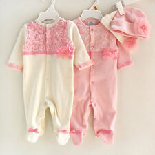 Newborn Baby Girl Clothes Lace Floral Infant Princess Jumpsuit Cotton Rompers