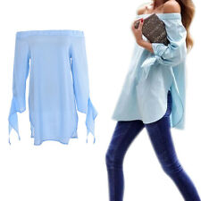 Women Lady Sexy Off Shoulder Casual Long Sleeve Slim T-Shirt Top Blouse SP