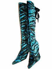 New Blue Brown Tiger Suede Boots Knee-high Lace up back Heels Size 9