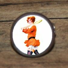Pin up TENNIS GIRL marble art Cuff Link or Tie Tack or Ring or Pendant or Pin