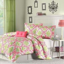 NEW Twin XL Full Queen Bed 4 pc Coral Green White Damask Comforter Set Dorm NWT