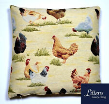 CHICKENS HENS COUNTRY 18x18in WOVEN TAPESTRY CUSHION COVER - UK MADE (45x45cm)