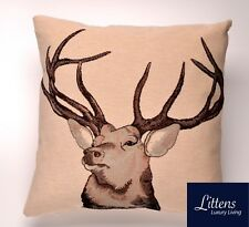 GREY WINTER STAG 18x18in WOVEN TAPESTRY CUSHION COVER - UK MADE (45x45cm)
