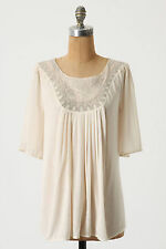 Anthropologie Ethereal Blouse Size M, Ivory Peasant Top Embroidered Yoke, Sains