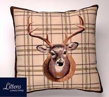 """NATURAL STAG HEAD KELSO 18"""" x 18"""" WOVEN TAPESTRY CUSHION COVER - MADE IN UK"""