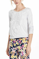 Anthropologie Lacy Outlook Tee Size L, Gray Top w/White Lace Detail By Bordeaux