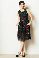 Anthropologie Terrace Sheath Dress Size 2, Black Lace Floral Lining By Wolven