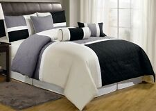 NEW Queen Cal King Bed 7 pc Black Gray Ivory Block Patchwork Hotel Comforter Set