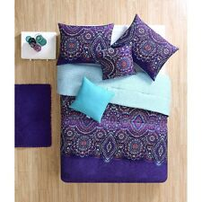 NEW Twin XL Full Bed Purple Blue Pink Medallion Reversible 5pc Comforter Set NWT