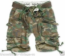 SURPLUS ARMY MENS DIVISION CARGO SHORTS COMBAT KNEE LENGTH & BELT WOODLAND CAMO