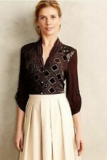 Anthropologie Leighton Velvet Buttondown Sz M, Brown Sequined Top Blouse By Tiny