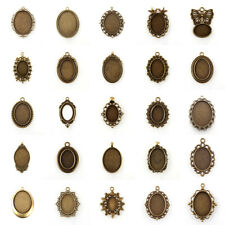 10pcs DIY Antique Bronze Oval Blanks Tray Pendants Cabochon Settings Nickel Free