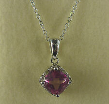 1.50ct Topaz & Diamond Cushion Cut 925 Sterling Silver Pendant/Necklace