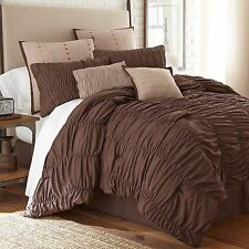 NEW Queen King Bed Brown Ruched Pleats Embroidered 7 pc Comforter Set Elegant