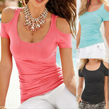 Womens Short Sleeve Sexy Tee Shirt Blouse Ladies Summer Off Shoulder Casual Tops
