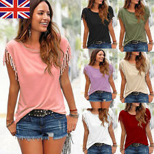 Fashion Womens Tassels Short Sleeve Loose T-Shirt Lady Summer Casual Tops Blouse