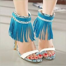 Womens High Heels Tassels Ankle Strap Gladiator Sandal Sexy Clubwear Court Shoes
