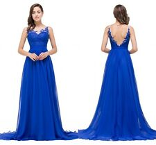 Sexy Backless Chiffon Applique Evening party Prom Dress Long Homecoming Dress