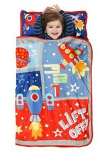 OUTER SPACE Rocket Ship NAP MAT Toddler Daycare Preschool BLANKET + PILLOW Bed