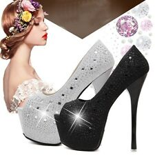 Stiletto Rhinestone Platform High Heels Peep Toe Pump Bridal Wedding Women Shoes