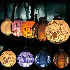 LED Paper Pumpkin Spider Bat Hanging Lantern Light Lamp Halloween Party Decor