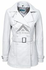 Luxury Ladies White Nappa Classic Trench Mid Length Designer Leather Jacket Coat