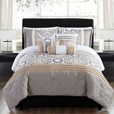 NEW Queen King Bed Taupe Brown Gold White Medallion 6pc Reversible Comforter Set