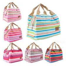 Thermal Portable Insulated Cold Canvas Stripe Picnic Totes Carry Case Lunch Bag