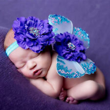 Newborn Baby Photo Props Flower Headband Fairy Glitter Butterfly Wings Sets