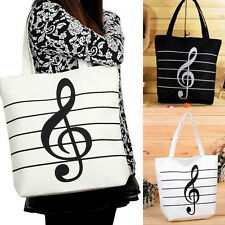 Musical Canvas Satchel Tote Shopping Bag Shoulder Handbag Purse Black White
