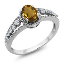 0.91 Ct Oval Whiskey Quartz White Topaz 925 Sterling Silver Ring