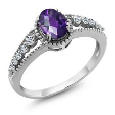 0.96 Ct Oval Checkerboard Purple Amethyst White Topaz 925 Sterling Silver Ring