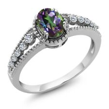 1.01 Ct Oval Green Mystic Topaz White Topaz 925 Sterling Silver Ring