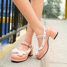 2016 Spring Womens Sweet Bowknot Mary Jane Shoes Block Heels Casual Pumps Shoes