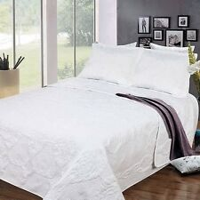 NEW Twin Full Queen King Bedspread Coverlet Quilt 3pc Set Shams Embroidery White