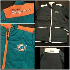 NFL Quilted Miami Dolphins Jacket Full Zip New York Jets Coat Size S, M, L, XL