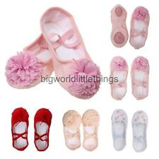 Soft Girl Canvas Leather Ballet Yoga Shoes Dance Full Sole Leather with Elastics