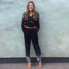 Anthropologie Lakeshore Jumpsuit Sizes XS-S-M, Navy Blue w/Floral Print By Lilka