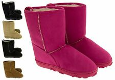 Girls Faux Fur Linied Hugg Boots Warm Winter Faux Suede Flat Boot Size 6 - 13