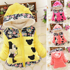 Kids Girls Toddler Minnie Mouse Floral Zip Up Hoodie Jacket Coats Winter Outwear