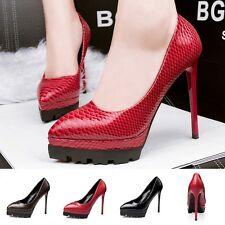 Womens Sexy Platform Pumps Snakeskin High Heels Stilettos Pointed Toe Work Shoes