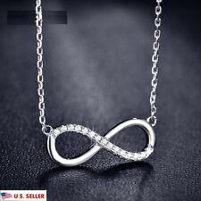 USA Forever Love Infinity Austrian Crystal Silver Tone Pendant Charm Necklace
