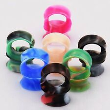 7Pairs Flesh Tunnel Plug Ear Saddle Stretcher Gauge Piercing Mix-colors Silicone